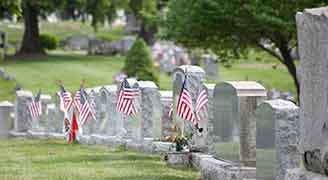 Cemetery of American Vets with American Flag